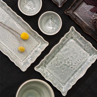Sth%C3%A5l+Keramik alt Arabesque Delikatessfat Antik